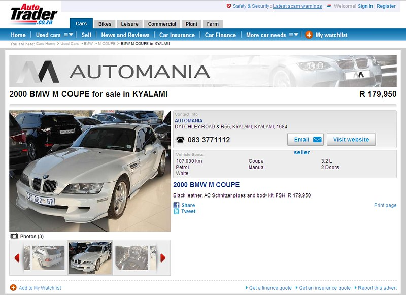 2000 M Coupe | Alpine White | Black | autotrader.co.za Kyalami, South Africa Ad Screenshot