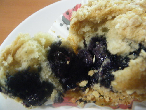 Inside the blueberry muffin!