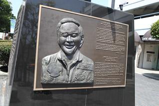 Image of Onizuka Memorial. california statue losangeles memorial astronaut nasa tribute spaceshuttle challenger littletokyo sts51l ellisononizuka