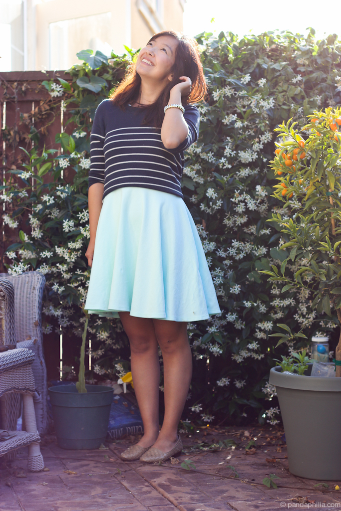 navy stripes mint skirt