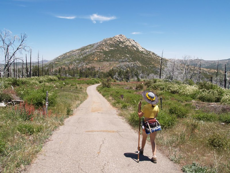 Lookout Road heading down Cuyamaca Peak - view of Stonewall Peak
