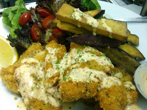 Parmesan-dill Breaded Dory + Seasoned Potato Wedges with a zingy sambal belacan mayo dip by side