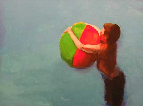 """Stephen Coyle, Beach ball, alkyd on linen, 18"""" x 24"""""""