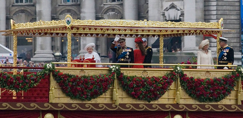 Royals waving during the Jubilee Pageant