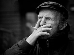 [Free Images] People, Middle and Old Age, Tobacco / Cigarettes, Grandfather, German People, Black and White ID:201206141600