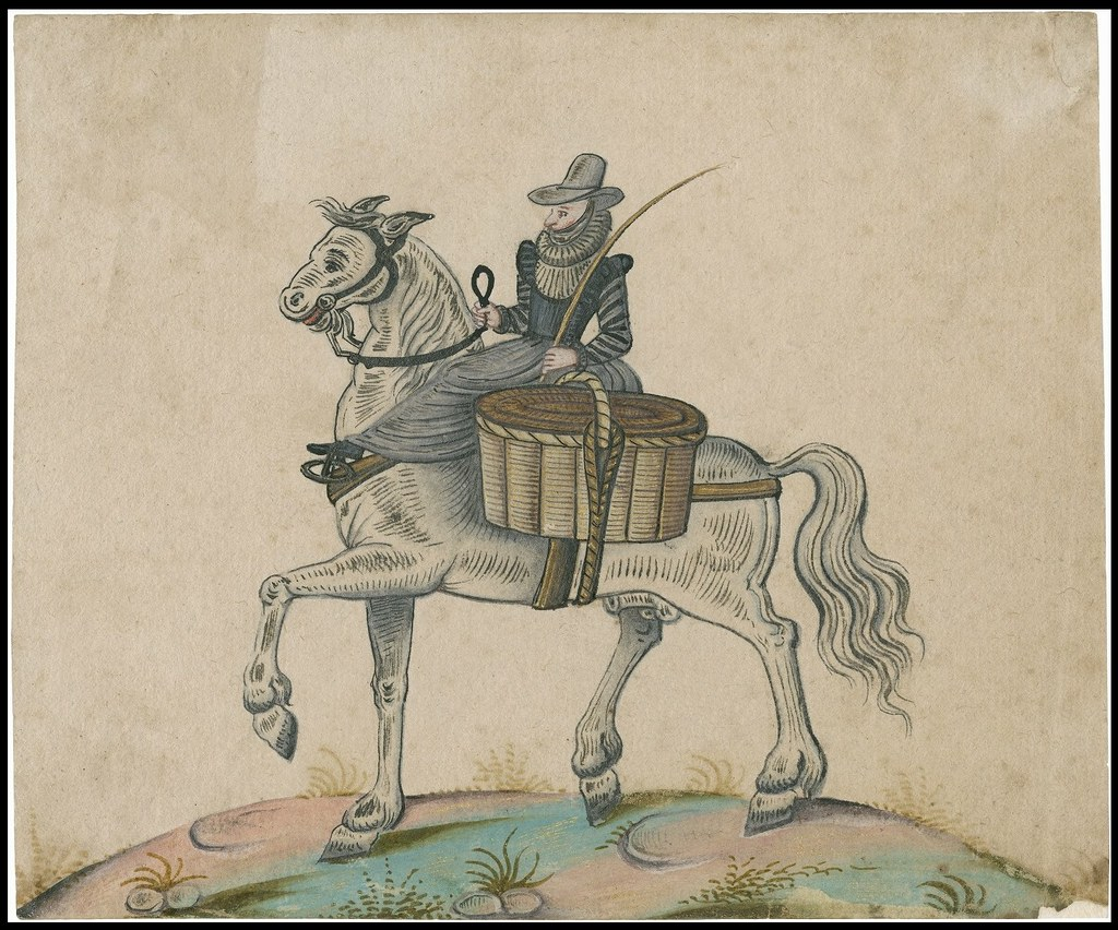frilled-neck costumed woman rides side-saddle with baskets on large horse