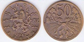 Päťdesiathalier - 50 h Československo 1947