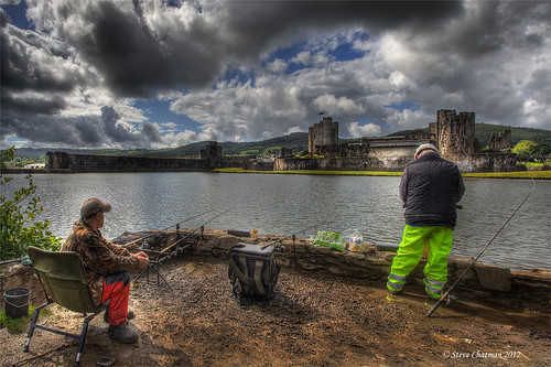 uk castle water wales clouds canon fisherman moat hdr 1740 bcc 2012 caerphilly photomatix explored 5dmk11 stevechatman