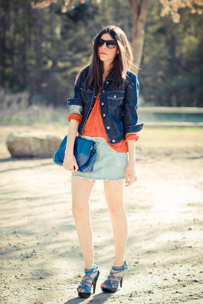 h and m, ray ban wayfarer, gap, diy denim skirt, fashion, outfit, go jane shoes