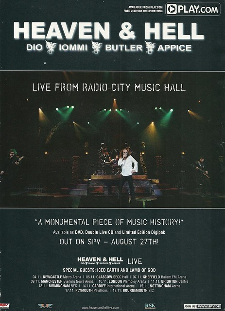 """Heaven & Hell """"Live from Radio City Music Hall"""" (Released: 08/27/07 - UK)"""