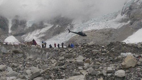 Helicopter at Everest Base Camp