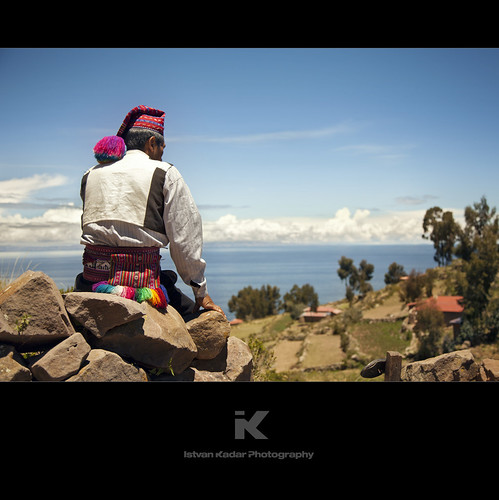 lake man peru laketiticaca landscape island andes colourful puno taquileisland traditionalclothes taquileño alwaysexc