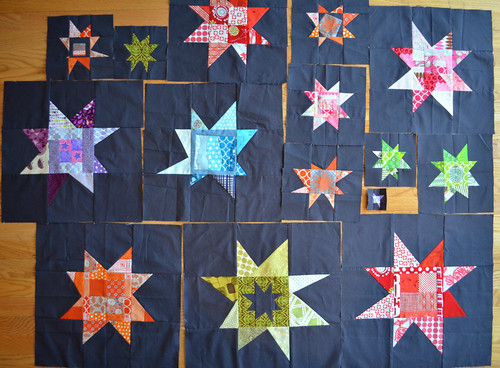 Wonky stars received so far from the Twelve Month Quilting Bee