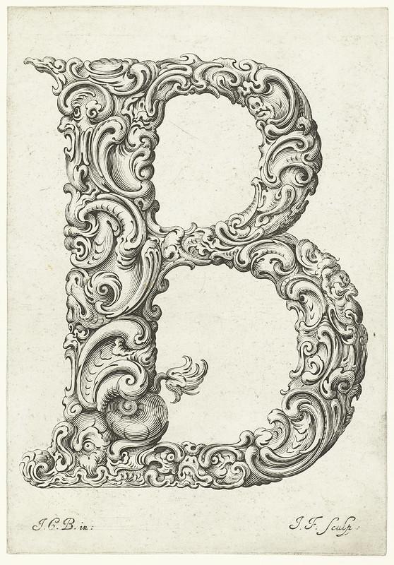 Letter 'B' - engraved fantasy, organic, botanical letter design