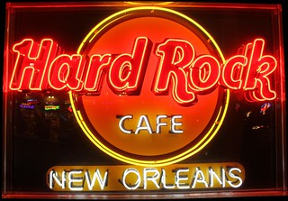 Image of Hard Rock Cafe. new sign rock logo la cafe orleans louisiana neon hard hrc nola konomark