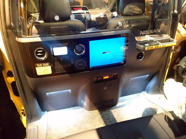 Passenger compartment of the Nissan NV200 NYC taxi