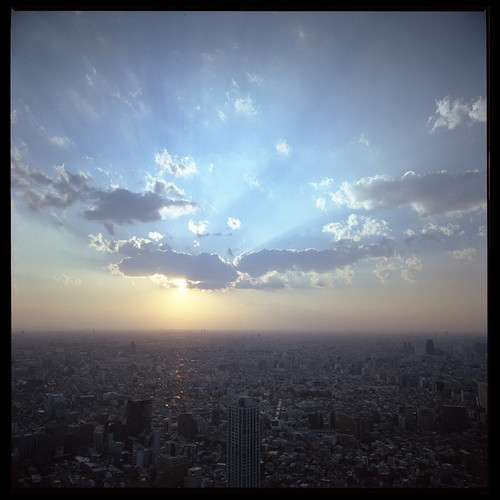 city blue sunset sky cloud rolleiflex tokyo haze sl66 forever portra160vc homedev homescan