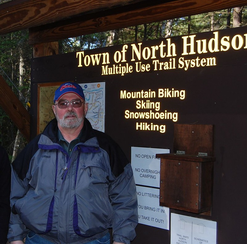 North Hudson Town Supervisor, Ron Moore at Trail Center kiosknorth hudson town