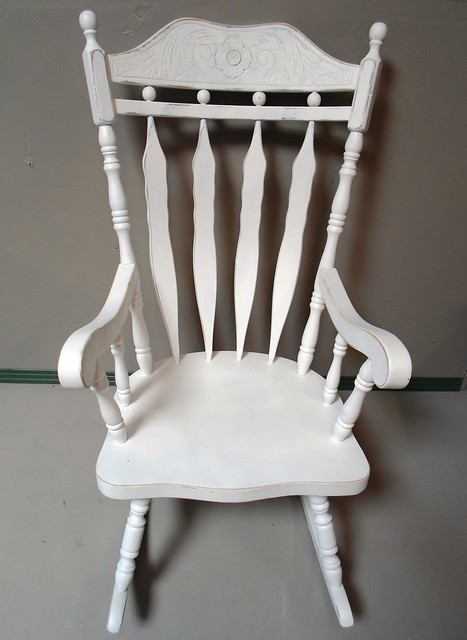 Shabby Chic Rocking Chair Pads : SOLD - Solid wood rocking chair with white shabby chic finish is ready for your nursery. Large ...