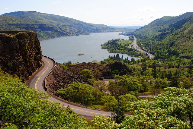 Interstate 84, the Historic Columbia River Hwy, and the Columbia River - Tom McCall Preserve - Eastern Columbia River Gorge