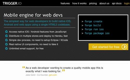 Trigger.io - mobile engine for web devs