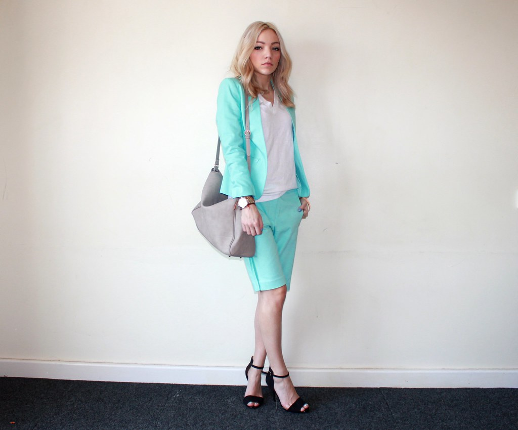 Mint short suit zara grey bag rose gold