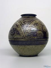 blue and white porcelain(0.0), art(1.0), pottery(1.0), urn(1.0), vase(1.0), ceramic(1.0), porcelain(1.0),