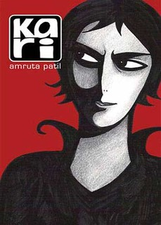 The cover of Kari. It features a graphic, black and white portrait of a woman with short hair against a red background. She has a sly look in her eyes.