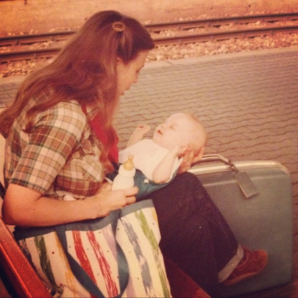 I'm pretty sure this is wear my love of #vintage #suitcases began. (That's me with my mom in Germany).