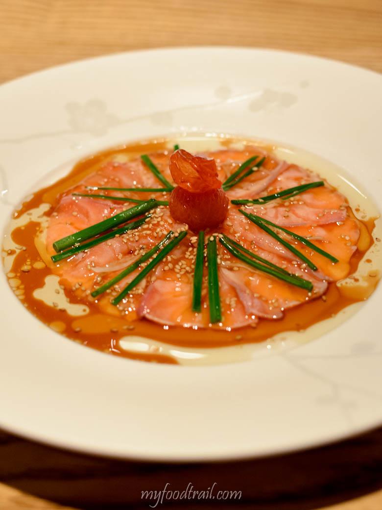 Nobu - New style salmon sashimi $20.50