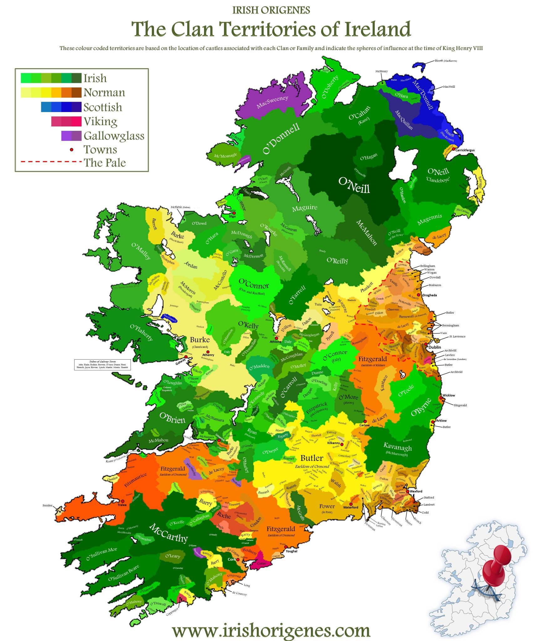 Mapa dos Clãs da Irlanda