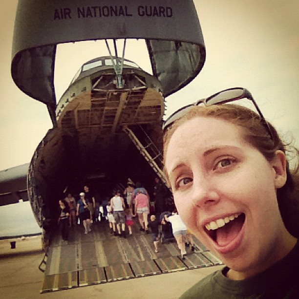 Nothing gets my #excitedface like the inside of military aircraft. (I'm a sucker for hard seats and cold metal.)
