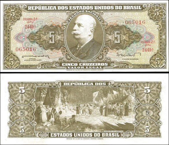 5 Cruzeiros Brazília 1962-4, Pick 176a