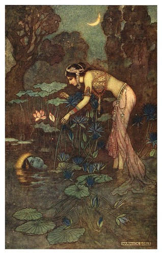 001-Sita se encuentra con rama entre las flores de loto-Indian myth and legend 1913-Warwick Goble