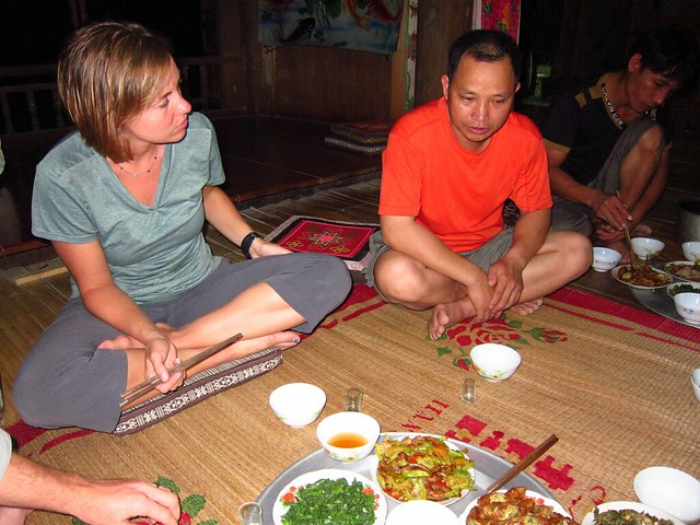 Homestay Dinner: Claudia with our Host, Bo