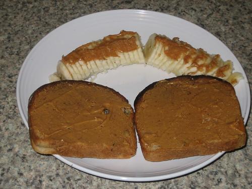IMG_4821 WIAW 5-30-12 Breakfast Sami's Banana Walnut Toast and pb and banana