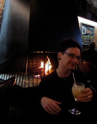 Joe's of Westlake Whiskey Sour in Front of the Fireplace