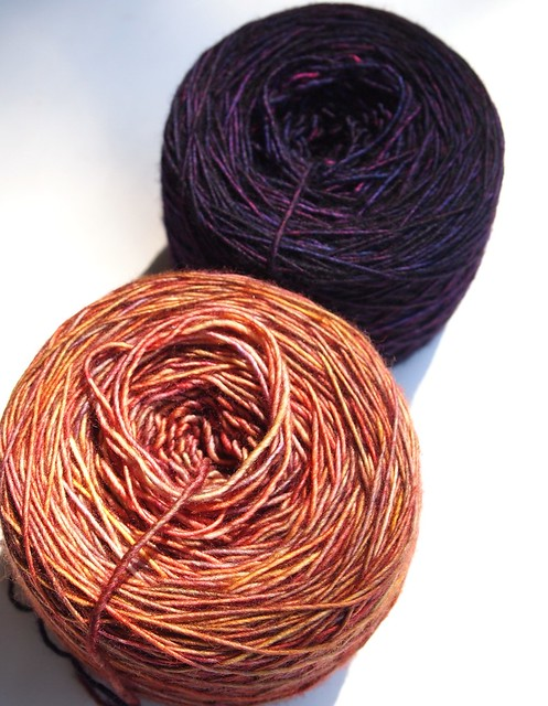 Madeline Tosh Merino Light in Flashdance & Amber Trinket for test knit shawl