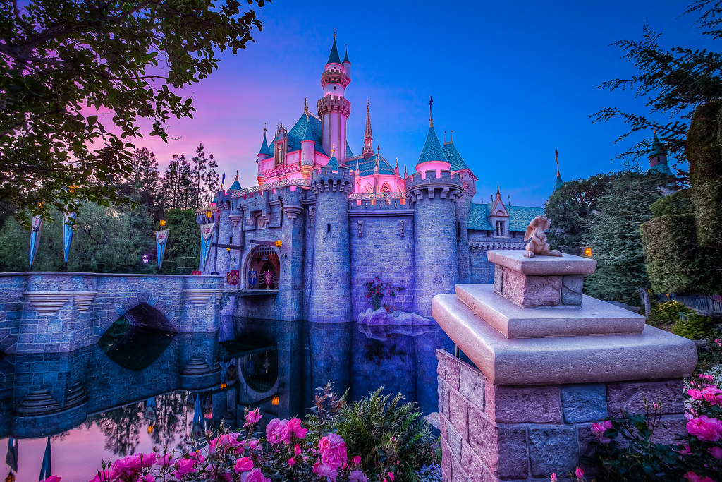 Disneyland Castle At Sunset