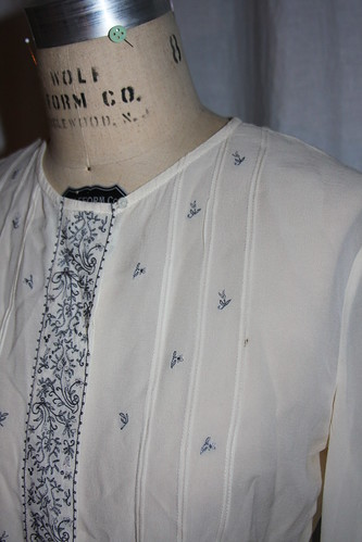 Embroidered shirt neckline