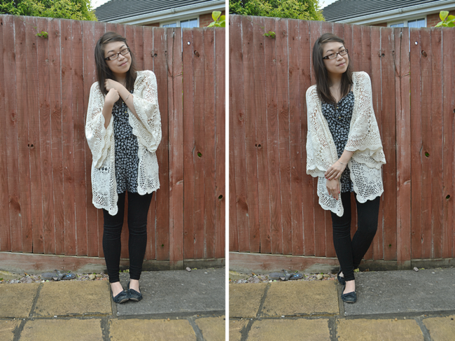 daisybutter - UK Style and Fashion Blog: what i wore, wiwt, comfy casual, topshop, crochet, kimono, monochrome looks, SS12