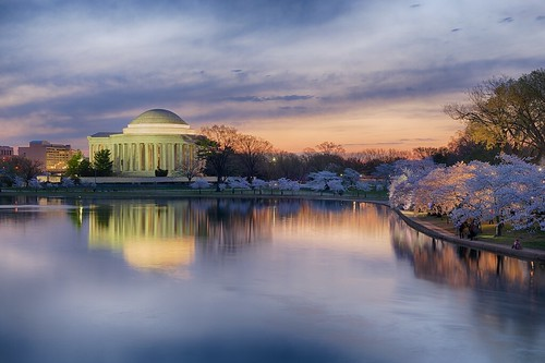 horizontal architecture landscape outdoors dawn landscapes spring twilight outdoor historic cherryblossom government tonemapped borderfx
