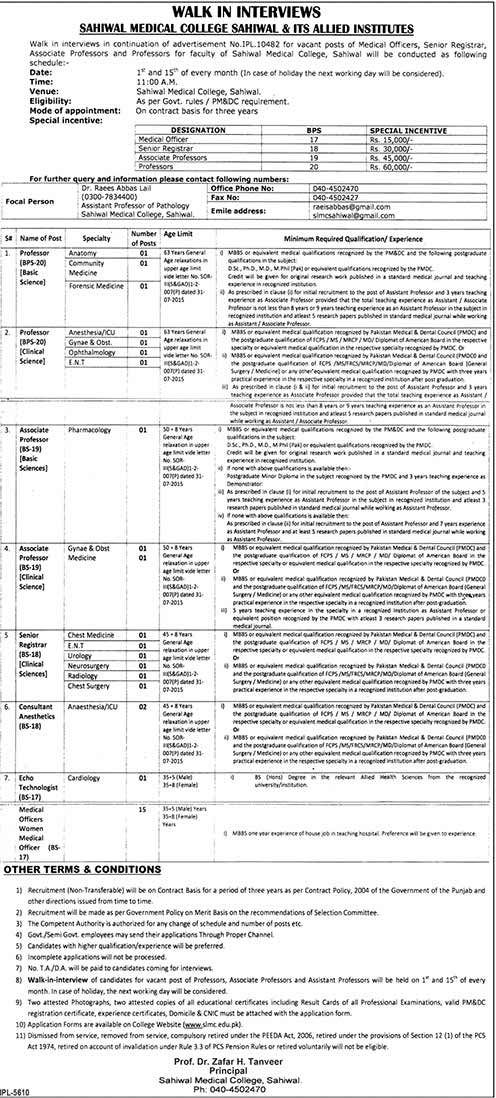 Walk in Interview Sahiwal Medical College and Allied Hospitals