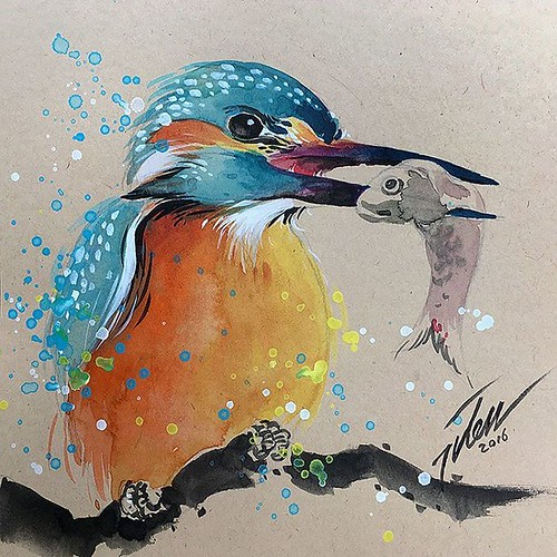 "kingfisher #4 • original painting by Tilen Ti  Watercolour  6"" x 6"" • 15 x 15 cm  online store: tilenti.tictail.com --------------------------------- #theartcommunity #watercolour #paintings #splattered #drip #dripped #artfido #art #_tebo_ #artists_magazi"