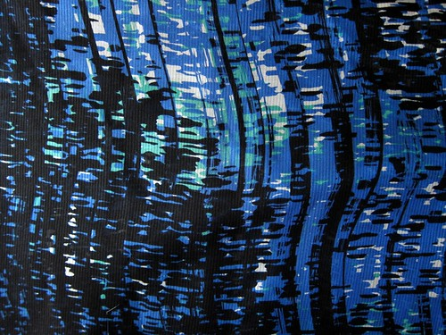 Abstract blue, green and black silk from Mood
