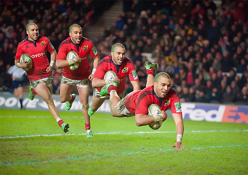 Simon Zebo scores his second try against Northampton Saints