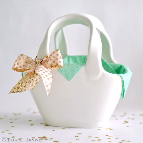 White ceramic basket