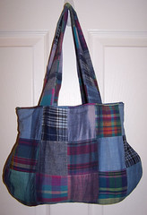 bag, art, pattern, shoulder bag, textile, purple, handbag, tote bag, electric blue, design, tartan, blue, plaid,