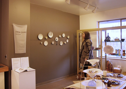 The plates hung at Hoffman Shop Gallery
