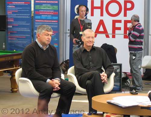 John Parrott & Steve Davis in Sheffield Winter gardens for world snooker 2012.